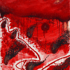 Obert Fittje: 'Americas First Plague', 2007 Oil Painting, War. Artist Description:   Inspired by the Ten Plagues of Egypt in the Old Testament, this is a pictorial representation of America's First Plague, the Plague of Blood or bloodshed, violence and war.  This is truly one of the plagues of humankind and especially America.  The opposites of this plague are ...
