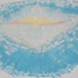 Obert Fittje: 'Angel in Blue', 2005 Oil Painting, Spiritual. Artist Description:  This is an early, simple painting of what it might be like to see an angel just floating in the clouds and the blue of the sky. ...