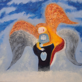 Obert Fittje: 'Angels Embracing', 2009 Oil Painting, Mystical. Artist Description:  Inspired by a Chagall painting, this is an image of the Angel of Art and the Angel of Love embracing.  It is oil on canvas with gold, copper and silver leaf for highlights. ...