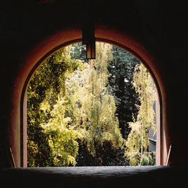 Obert Fittje: 'Berkeley Archway', 1983 Color Photograph, Architecture. Artist Description:  This is the light at the end of the tunnel on a passageway on the Berkeley campus. ...