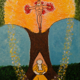 Obert Fittje: 'Christ and Buddha', 2010 Oil Painting, Mystical. Artist Description:   This is an image that combines Buddhism and Christianity with the Buddha sitting under the tree meditating and the figure of Christ crucified in the tree/ on the cross.           ...