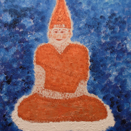 Obert Fittje: 'Copper Buddha', 2009 Oil Painting, Buddhism. Artist Description:  This is a Buddha image made primarily with copper paint and copper leaf with parts of the image being fractals of a smaller copper Buddha. ...