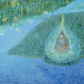 Obert Fittje: 'Floating Monk', 2008 Oil Painting, Buddhism. Artist Description:  Obviously inspired by Monet, what would it look like to find a monk floating in one of Monet's ponds? ...