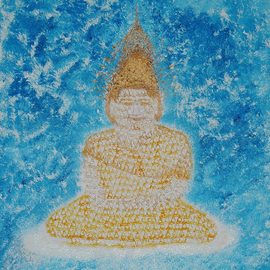 Obert Fittje: 'Fractal Buddha', 2006 Oil Painting, Buddhism. Artist Description:  After seeing and reading about fractals, I did this painting in which the image of the Buddha is made up of many smaller images or fractals of the Buddha sitting in a meditative pose. ...