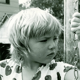 Obert Fittje: 'Girl on Swing I', 1980 Black and White Photograph, Children. Artist Description:  This is a photo of Marilyn's daughter on a swing. ...