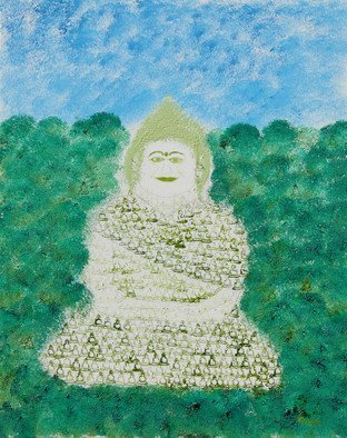 Obert Fittje: 'Green Fractal Monk', 2007 Oil Painting, Buddhism. Artist Description:   This is one in a series of paintings of monks of each basic color made up of smaller fractals of monks. This is the green fractal monk in the series.                           ...