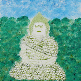 Obert Fittje Artwork Green Fractal Monk, 2007 Oil Painting, Buddhism