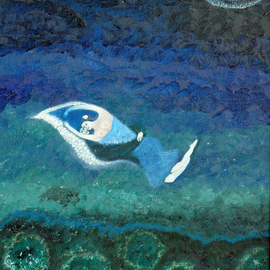 Obert Fittje: 'Lovers in a Moonlit Sky', 2005 Oil Painting, Love. Artist Description:  This painting wss inspired by the Chagall painting