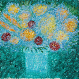 Obert Fittje: 'Mindful Flowers', 2006 Oil Painting, Still Life. Artist Description:  Mindfulness is a spiritual virtue so here we have mindful flowers and a mind full of flowers.  The alternate title for this work is