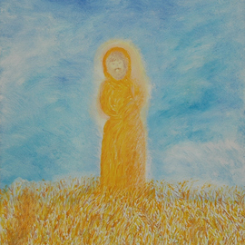 Obert Fittje: 'Monk in Golden Field', 2005 Oil Painting, Mystical. Artist Description:  This is a seemingly straightforward painting of a monk standing in a golden field, both literally and metaphorically....