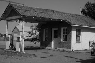 Obert Fittje Artwork Old Gas Station, 2006 Black and White Photograph, Americana