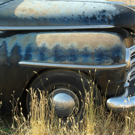 Obert Fittje: 'Old Plymouth', 2006 Color Photograph, Automotive. Artist Description:  Somewhere in a small town in northern Montana in a vacant lot this old abandoned Plymouth rests in peace, but still showing some of its old glory. ...