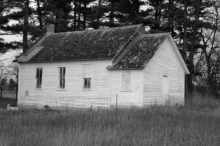 Obert Fittje Artwork Old Schoolhouse, 1980 Black and White Photograph, Americana