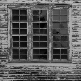 Obert Fittje: 'Old Windows', 2006 Black and White Photograph, Architecture. Artist Description:  This is a stark photo of some windows on an old abandoned house somewhere on the plains of North Dakota. ...