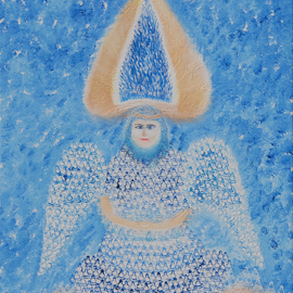 Obert Fittje: 'Sky Angel', 2007 Oil Painting, Ethereal. Artist Description:  This is a visionary fractal painting of what a sky angel might look like; the body and wings of the angel are made up of fractals of a meditating Buddha. ...