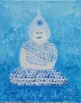 Obert Fittje: 'Sky Monk', 2007 Oil Painting, Fractal. Artist Description:  This is one of a series of eight fractal paintings, one for each of the eight basic colors.  This is the blue or sky monk made up of smaller images or fractals of a meditating Buddha. ...