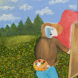 Obert Fittje: 'The Artist Loves', 2010 Oil Painting, Love. Artist Description:  This painting was inspired by a Chagall work.  Represented in this painting are some of the many loves of the artist:  the sun, the sky, clouds, trees, grass, flowers, colors, painting and the Beloved.         ...
