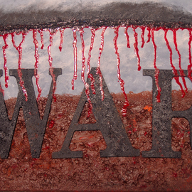 Obert Fittje: 'W A R', 2013 Oil Painting, War. Artist Description:     This is a companion piece to