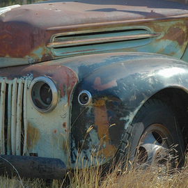 Obert Fittje: 'old truck', 2006 Color Photograph, Automotive. Artist Description:  This is a landscape color image of an old truck left abandoned and rusting in a vacant lot somewhere in the West. ...