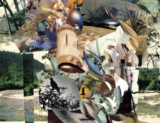 Collage by Oksana Linde titled: Mystery II, created in 1996