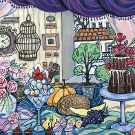 Oksana Ivanik: 'still life with irises', 2017 Tempera Painting, Still Life. Artist Description: Keywords: plate, rose, vase, window, still life, cage, cake, apple, flower, fruit, house, iris...