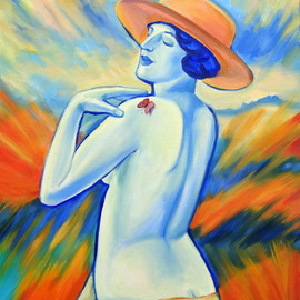 Oksana Grineva: 'Orange Hat', 2013 Oil Painting, nudes. Artist Description:  Figurative, female, contemporary, original, giclee, prints ...