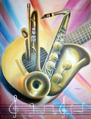 Music Oil Painting by Olaoluwa Smith Title: MUSIC, created in 2010