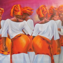 Smith Olaoluwa: 'Yoruba traditional dancers', 2016 Oil Painting, People. Artist Description: itle Yoruba Traditional DancersArtist Olaoluwa SmithMediumPainting - Oil On Canvass...