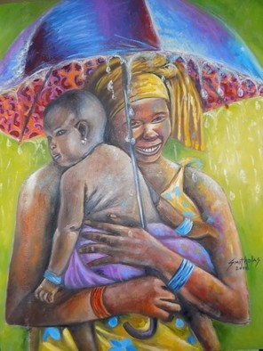 Smith Olaoluwa: 'caring mother', 2018 Oil Painting, People. Title Caring MotherArtist Olaoluwa Smith Medium Painting - Oil On CanvassDescription A caring mother carrying the baby during the rain with affection and smile...