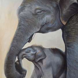 Smith Olaoluwa: 'elephant and calf', 2019 Oil Painting, People. Artist Description: Title Elephant And CalfArtist Olaoluwa SmithMedium Painting - Oil On Canvass...