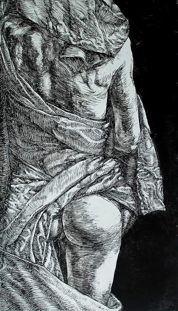 Oleksandra Voronina  'Virginity', created in 2014, Original Printmaking Linoleum.