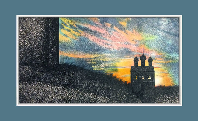 Olga Kostyuchenko  'Sunset', created in 1987, Original Drawing Pencil.