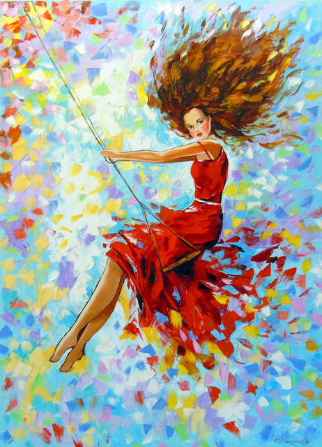 Olha Darchuk  'The Girl On The Swing', created in 2019, Original Painting Oil.