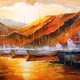 Olha Darchuk: 'yachts in the mountain harbor', 2021 Oil Painting, Seasons. Artist Description: Yachts in the mountain harbor oil painting on canvas without frame in a single copy, as the edges are painted, 100  handmade with high- quality oil and palette knife . Decorate your interior and feel great positive emotions from your work. Ready to hang. ...