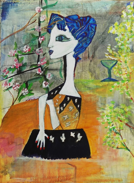 Liz Taylor  'Drinking Wine In My Garden', created in 2020, Original Painting Acrylic.