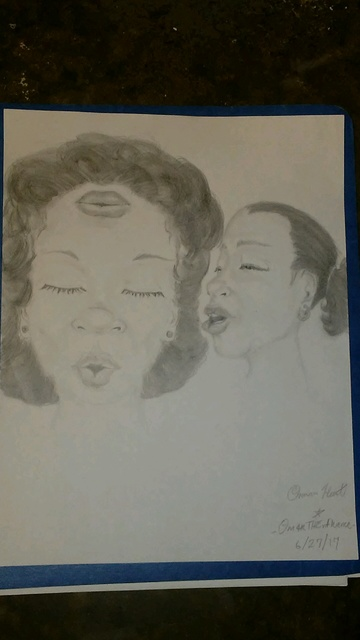 Omari Hunt  'Lips', created in 2017, Original Drawing Pencil.