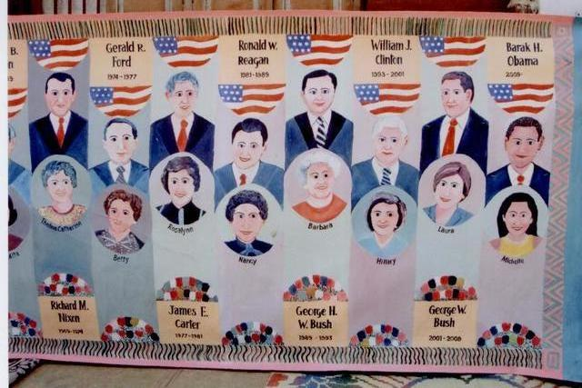 Om Joshi  'Presidents With First Lady Usa', created in 2010, Original Painting Oil.