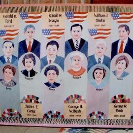 Om Joshi: 'presidents with first lady usa', 2010 Oil Painting, Portrait. Artist Description: This is 1200 x 150 cm oil painting on canvas of USA presidents with first ladies...