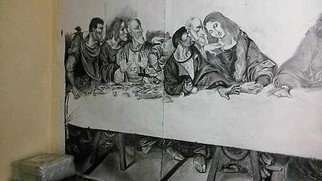 Wilson Omullo Artwork The last supper, 2016 Charcoal Drawing, History
