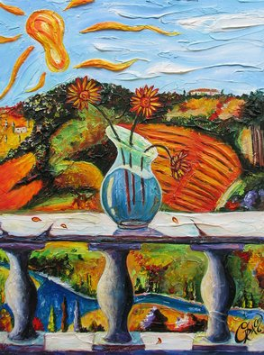 Christopher Oraced Decaro: 'Sunflowers in Tuscany', 2008 Mixed Media, Surrealism.  The sunflowers are melting and I can only sit back and watch as the Tuscan sun fills the hills with laughter.  ...