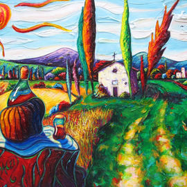 Christopher Oraced Decaro Artwork The Day Vino Stood Still, 2010 Acrylic Painting, Surrealism