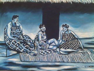 Culture Oil Painting by Uche Ogbu Title: Family tie, created in 2015