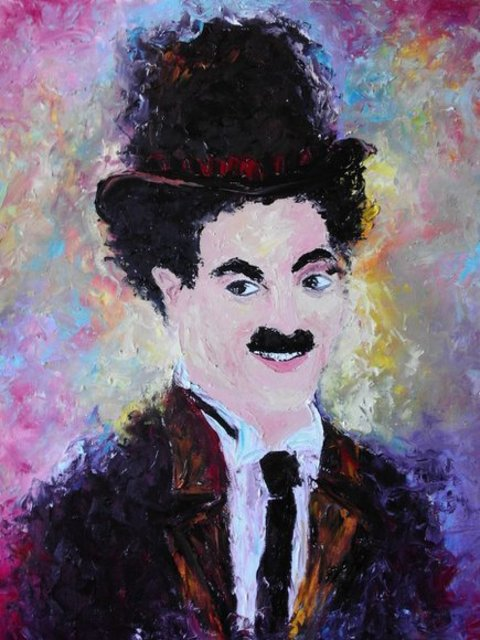 Asia Djibirova  'Chaplin', created in 2017, Original Painting Oil.