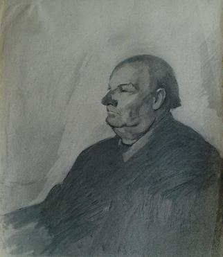 Dario Raffaele Orioli Artwork portrait 5, 1977 Charcoal Drawing, Portrait