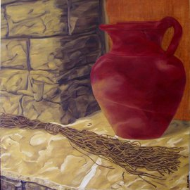D. K. Osorio: 'Der Hauswein', 2010 Oil Painting, Still Life. Artist Description:  red, wine, jug, sun, stone,  ledge, painting  ...