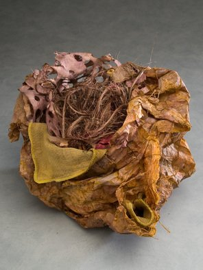 Elena Osterwalder: 'La Canasta', 2009 Other Sculpture, Abstract.  Hand made paper, amate, hemp, cotton cloth , dyed in organic colors. ...