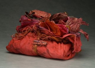 Elena Osterwalder: 'The Red Bag', 2008 Mixed Media Sculpture, Fashion.  Dyed woven cotton cloth with cochineal dyed paper tied with sisal twine.  ...