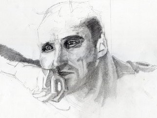 Pencil Drawing by Nagy Oszkar titled: Writer Stalker Anatoli Solonitsyn, 2008