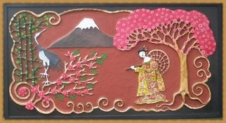 Otil Rotcod: 'BEAUTIFUL JAPAN', 2013 Mixed Media, Representational.  All handmade papier mache artwork, a depiction of a scenery in japan. Where all the known elements of Japan is represented like the Geisha, Mt. Fuji, Cherry Blossoms, Chrysanthemums, the Japanese Crane, and Bamboo.                ...