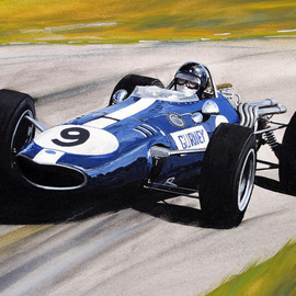 Steve Jones: 'Dan Gurney   Eagle', 2015 Other Painting, Sports. Artist Description:  Gouache Painting ...